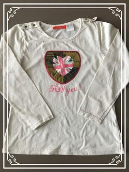 Wit tshirt met lange mouw en leuke opdruk merk OKaou - maat 128