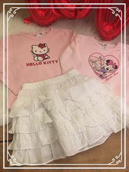 Witte geplooide rok van Tex kids en 2 shirts van de H&M - Maat 98