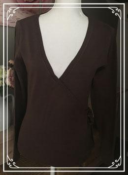 Donkerbruine trui met v-hals - maat l