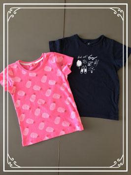 Set van 2 shirtjes in roze en donkerblauw - Maat 104-110