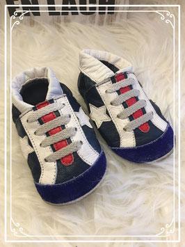 Stoere blauwe schoenslofjes - Maat 18