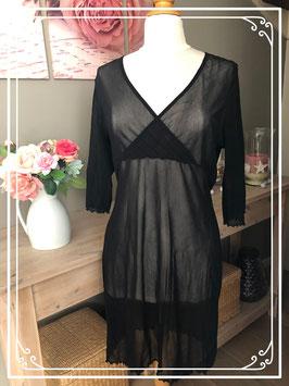 Zwarte doorzichtige overslag jurk - Maat - L