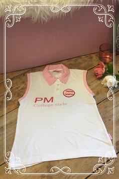 Witte polo met roze accenten van Pom Pom-maat 134-140