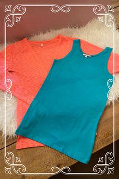 Neon roze vest met eeen turquoise top van coolcat - maat 158-164
