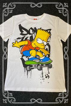 Leuk wit shirt van Bart Simpsons maat 164