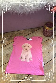 Roze T-shirt met hond van de H&M - Maat 110/116