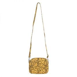Nieuw: Een gele schoudertas in slangenprint van Yehwang