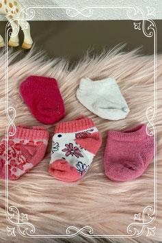 5 paar sokjes in wit en roze - van 0-3 maanden