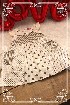 Wit met bruin jurkje van XinXin - Maat 86-92