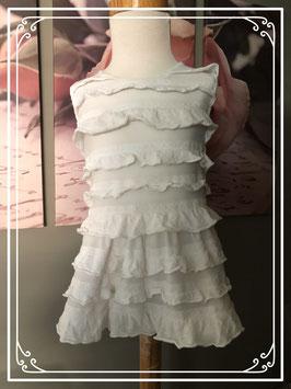 Witte jurk met verschillende lagen ruffles - Maat 80