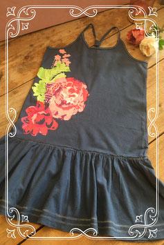 Donkerblauwe jurk met print van L.O.G.G. - Maat 146-152