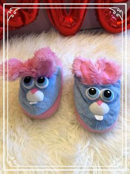 Rose blauwe konijnen pantoffels - maat 32