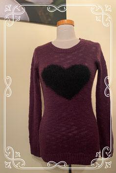 Nieuw! Warme paarse trui met hart van C&A maat S
