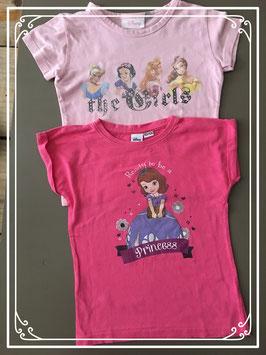 2-pak tshirts roze merk Disney - maat 122-128