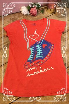 Oranje t-shirt van de WE - maat 134-140