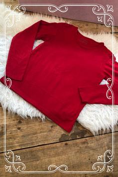 Basic rood lange mouwen t-shirt - Maat 146-152