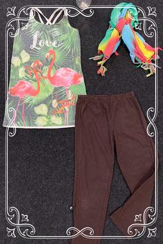 3-delige set met sjaaltje van WE met zomerse top en legging van Persival maat 140/146