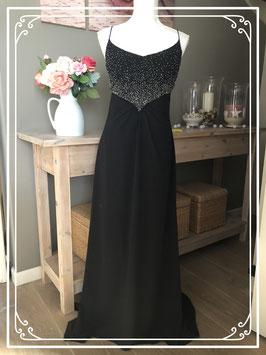 Elegante zwarte gala-feestjurk van het merk Unique-maat 42