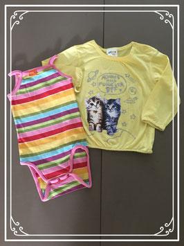 Kleurrijk shirtje met bijpassend rompertje - Maat 86-92
