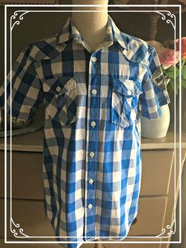 Blauw-wit geruit hemd van WE - maat 146-152