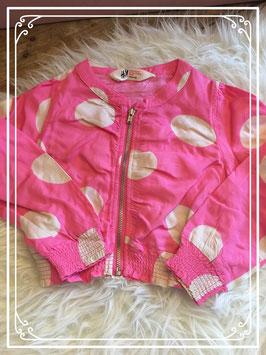 Roze met witte stippen jasje van de H&M - maat 98