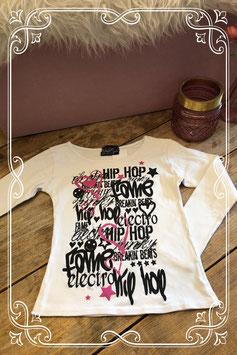 Wit shirt met opvallende zwarte tekst van Wndr Girls - Maat 146/152