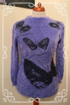 Nieuw! Leuke paarse trui met bloemen van Niyufushi maat S