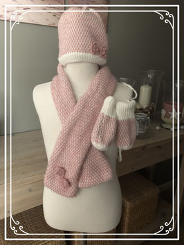 Gebreid roze winter set