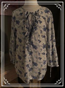 Prachtige witte blouse met blauwe print  van Esprit - Maat 40