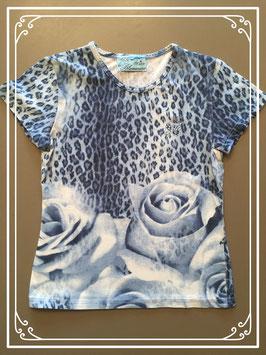 Schitterend blauw T-shirtje van Miss Blumarine - maat 110-116