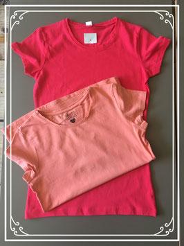 2  Basic shirtjes in rood en zalm-oranje maat 158-164