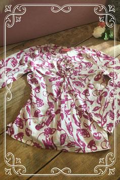 Luchtig wit blouseje met paarse bloemen van D-ZINE-maat 152-158