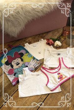 Vijf delige set van hempjes en top van oa Minnie Mouse en Mega Mindy maatje 122-128