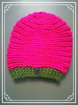 Gebreid roze-groen mutsje - voor meisje van 3 jaar