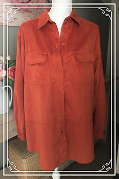 Oranje suède blouse van Promiss- Maat 48
