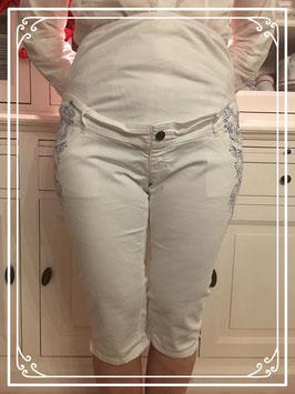 Witte 3/4 zwangerschapsbroek met blauwe opdruk van Calin Kalin - Maat 44
