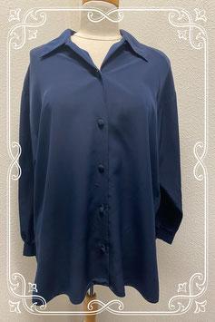 Mooie gladde donkerblauwe blouse in maat M