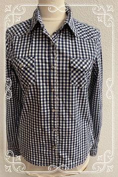 Leuke donkerblauw met wit geblokte blouse van America Today maat XL