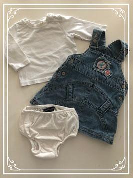 Tuinjurk met wit shirt en broekje - Maat 62