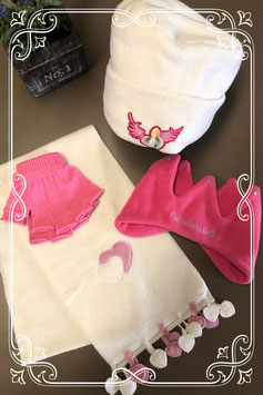 Roze met witte 4-delige set!