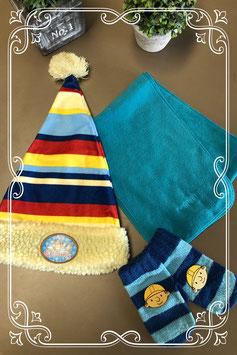 3-delige set: muts - sjaal en wanten in leuke kleuren - voor 3-5 jaar