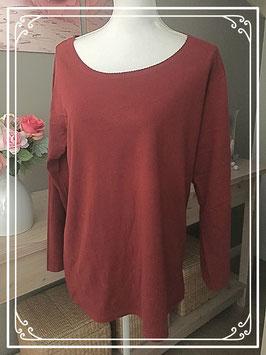 Nieuw: Steenrood t-shirt met langsmouwen - Maat XL