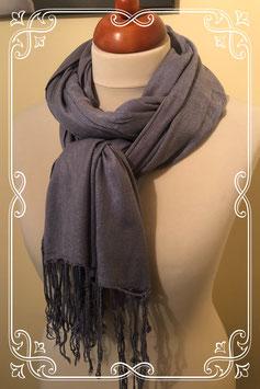 Blauw/grijze sjaal met fransjes