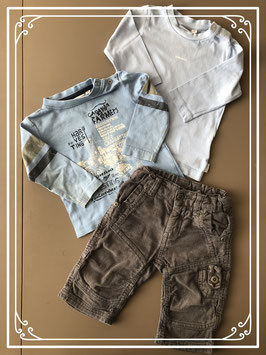 Taupekleurige broek met twee lichtblauwe shirts - Maat 68