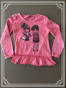 Modieus roze t-shirtje van GIRLS - Maat 92-98