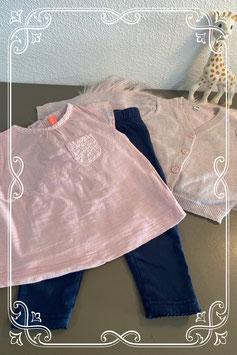 Driedelige roze met blauwe set - maat 74