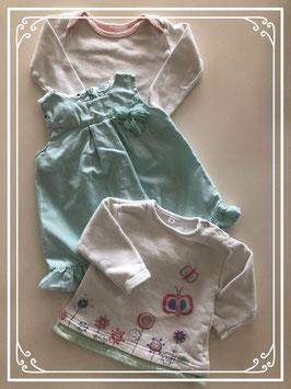 Lichtblauw jurkje met witte shirts - Maat 68