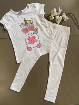 Wit shirt met unicorn van Dopo Dopo Girls met witte legging in maat 104
