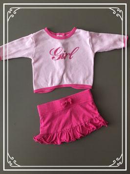 Setje van shirtje en rokje roze - maat 50