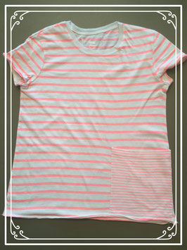 T-shirt met flashy roze strepen - maat 158-164